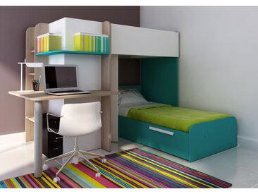 Hochbett mit Schreibtisch SAMUEL + Bettboden - 2x90x190cm - Türkis