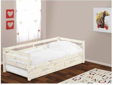 Ausziehbett AEDAN + Lattenrost - 90x190cm - Weiß