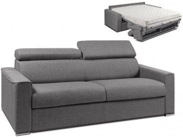 Schlafsofa 4-Sitzer Stoff VIZIR - Grau - Liegefläche: 160cm - Matratzenhöhe: 22cm