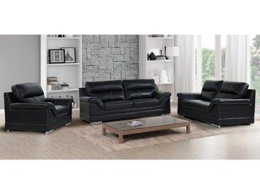 Couchgarnitur 3+2+1 MONIKA - Büffelleder - Schwarz