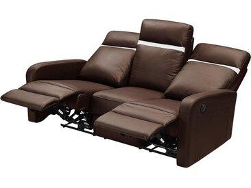 Relaxsofa 3-Sitzer elektrisch ABERDEEN - Leder - Braun mit elfenbeinfarbenem Streifen