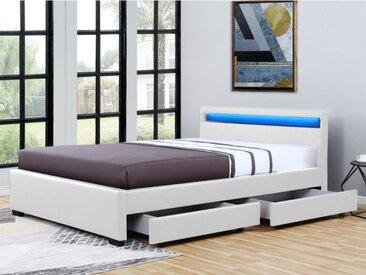 Bett mit Bettkasten & LED-Beleuchtung ALOIS - 140 x 190 cm - Weiß