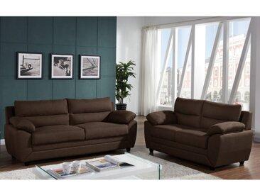 Couchgarnitur 3+2 Stoff MANOA - Braun