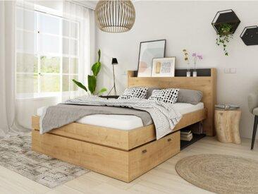 Bett mit Stauraum & LED-Beleuchtung RAPHAEL - 140 x 190 cm - Eichefarben & Schwarz