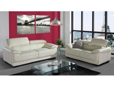 Couchgarnitur Leder 3+2 MACELO - Elfenbein