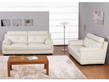 Couchgarnitur Leder 3+2 MANUELA - Büffelleder - Elfenbein