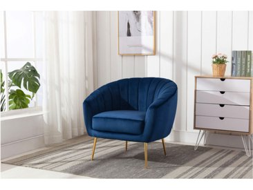 Lounge-Sessel PABLITO - Samt - Dunkelblau