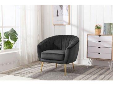 Lounge-Sessel PABLITO - Samt - Anthrazit