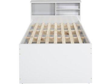 Bett mit Bettkasten BORIS + Lattenrost - 90x190cm - Weiß