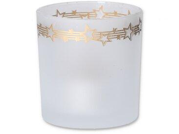 Windlicht weiß/gold Ø 7 x 8 cm