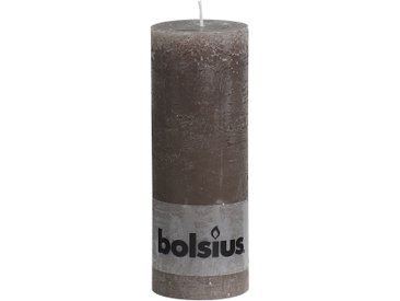 Bolsius Stumpenkerze 'Rustik' taupe Ø 6,8 x 19 cm