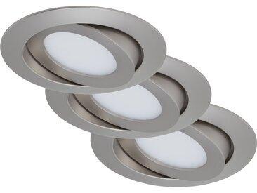 Briloner LED-Einbauleuchte 'Flat' matt-nickel 6 W, 3er-Set