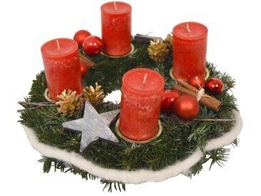toom Adventskranz mit Kugeln, Zapfen und 4 roten Rustik-Kerzen Ø 35 cm