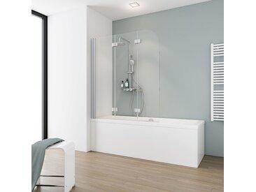 Schulte Badewannenfaltwand 'Komfort' teilgerahmt, aluminiumfarben, 125 x 140 cm, 3-teilig