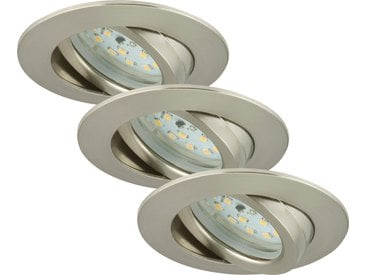 Briloner LED-Einbauleuchte matt-nickel 5 W schwenkbar, 3er-Set