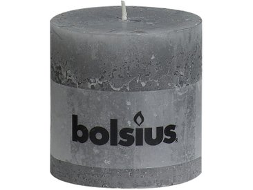 Bolsius Stumpenkerze 'Rustik' hellgrau Ø 10 x 10 cm