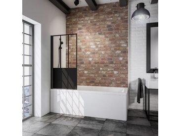 Schulte Badewannenfaltwand 'Komfort Atelier 5' schwarz, matt, 80 x 140 cm, 1-teilig