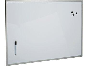 MDF-Magnet-Tafel, beschreibbar, 80 x 60 cm, weiß/aluminiumfarben