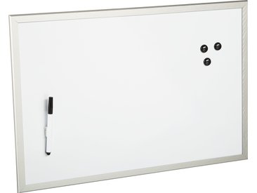 MDF-Magnet-Tafel, beschreibbar, 60 x 40 cm, weiß/aluminiumfarben