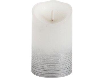Schlaraffenland LED-Kerze 'Glace' weiß/silber Ø 9 x 15 cm