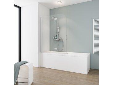 Schulte Badewannenfaltwand 'Komfort' teilgerahmt, aluminiumfarben, 112 x 140 cm, 2-teilig