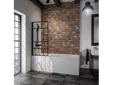 Schulte Badewannenfaltwand 'Komfort Atelier 1' schwarz, matt, 80 x 140 cm, 1-teilig