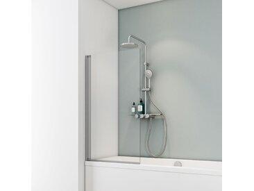 Schulte Badewannenfaltwand 'Komfort' teilgerahmt, aluminiumfarben, 70 x 130 cm, 1-teilig