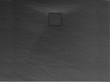 Schulte Duschwanne, Mineralguss, flach, anthrazit, rechteckig, 100 x 80 x 4 cm