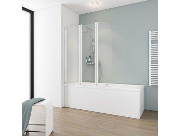 Schulte Badewannenfaltwand 'Komfort' teilgerahmt, weiß, 125 x 140 cm, 3-teilig