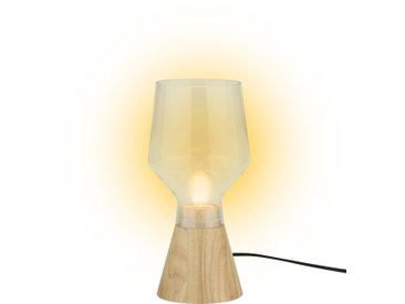 Stiltalent by toom® Tischleuchte 'Wooden Glassie' natur Ø 13 cm