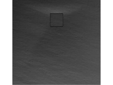 Schulte Duschwanne, Mineralguss, flach, anthrazit, quadratisch, 100 x 100 x 4 cm