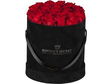 Rosenbox 'Hutschachtel' schwarz mit 18-20 roten Rosen