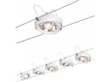 Paulmann Seil-Set Powerline II, LED 5x8W, G53 Weiß 230/12V 80VA Metall/Kunst...