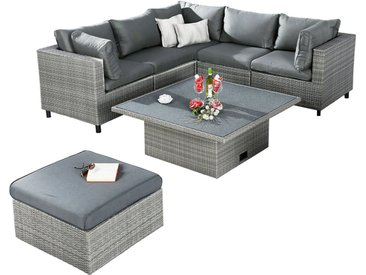 Gartenmöbel Lounge-Gruppe 6-tlg. Bonaire Grau