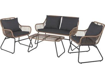 Lounge-Set Willmar 4-teilig aus Polyrattan Braun