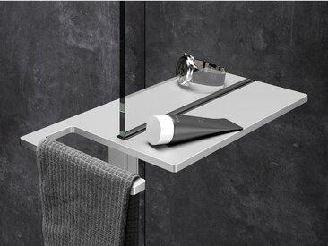 Hüppe Duschablage Select+ mit Handtuchhalter Silber Matt