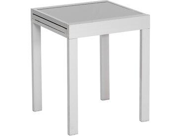 Balkontisch 65/130 cm x 65 cm Ausziehbar Silber-Grau