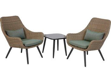 Lounge-Set Aliceville 3-teilig aus Polyrattan Grün-Grau