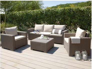 Gartenmöbel-Set Lounge-Gruppe Mombasa Polyrattan Cappuccino/Sand 4-tlg.