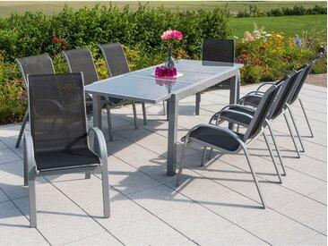 Merxx Gartenmöbel-Set Amalfi 9-tlg. Schwarz mit Ausziehtisch 180/240 x 100 cm
