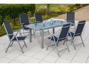 Merxx Gartenmöbel-Esstisch-Set Amalfi Marineblau 7-tlg. inkl. Klappsessel