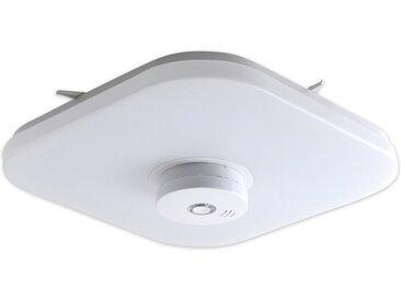 Näve LED-Deckenleuchte mit Rauchmelder Neapel Weiß-Opal 35 cm x 35 cm EEK: A
