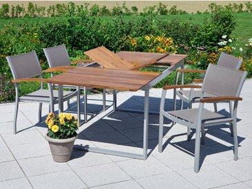 Gartenmöbel-Set Naxos 5-tlg. Grau inkl. Tisch 150/200 cm x 90 cm