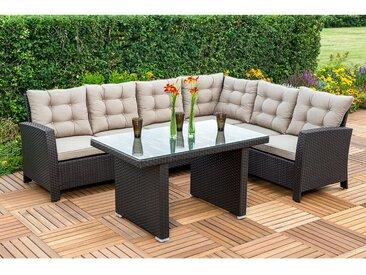 Merxx Gartenmöbel-Set Lounge-Ecke Salerno Braun 2-teilig
