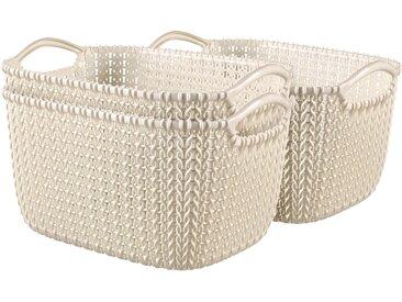Best Freizeitmöbel Aufbewahrungskörbe Curver Knit 3-er Set Weiß S