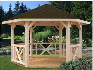 Palmako Holz-Pavillon Betty Natur unbehandelt 337 cm x 423 cm ohne Fußboden