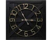 Große Altholz-Uhr Schwarz 81cm | Industrielle Wanduhren