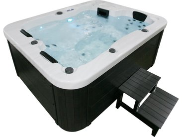 Home Deluxe Outdoor Whirlpool White Marble plus Treppe und Thermoabdeckung