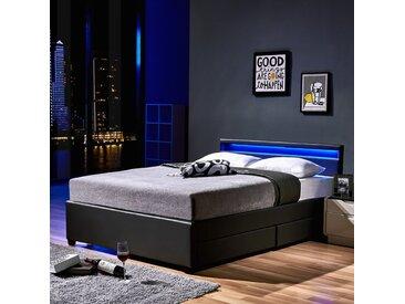 Home Deluxe LED Bett Nube mit Schubladen 180 x 200 (dunkelgrau)