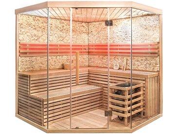 Home Deluxe Traditionelle Sauna SKYLINE BIG - XL mit Kunststeinwand
